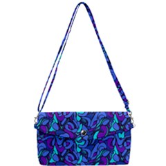Blue Abstract Drops Pattern Removable Strap Clutch Bag