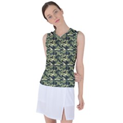 Green Forest Camo Women s Sleeveless Mesh Sports Top by goljakoff