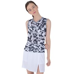 Winter Forest Camo Pattern Women s Sleeveless Mesh Sports Top by goljakoff