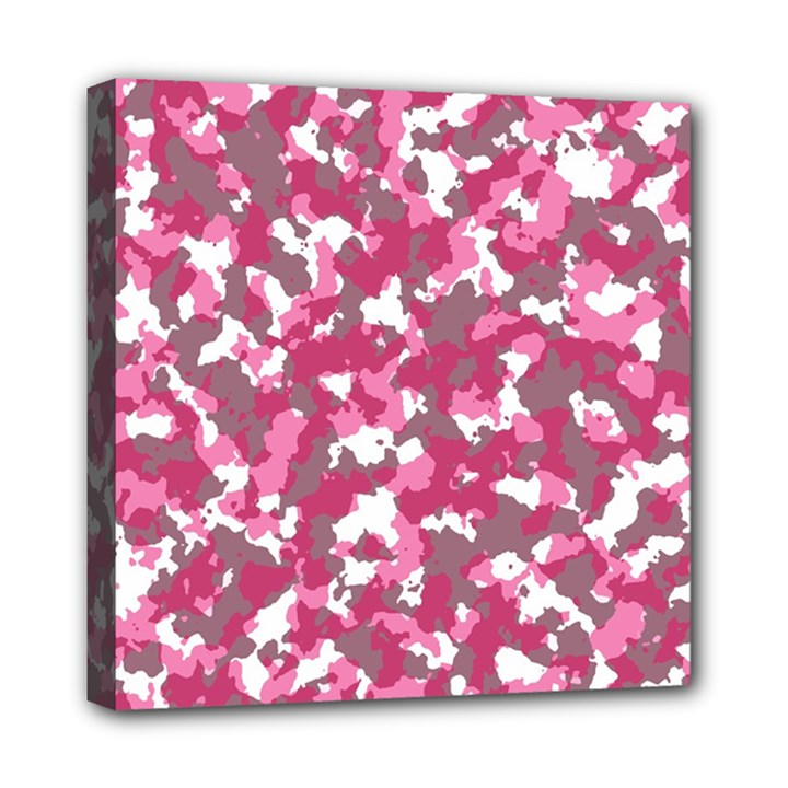 Pink camo pattern Mini Canvas 8  x 8  (Stretched)