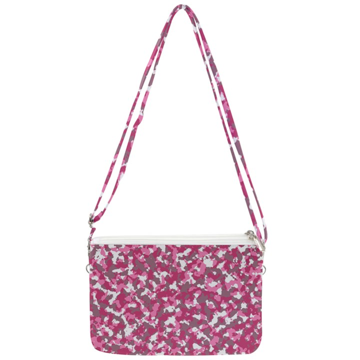 Pink camo pattern Double Gusset Crossbody Bag