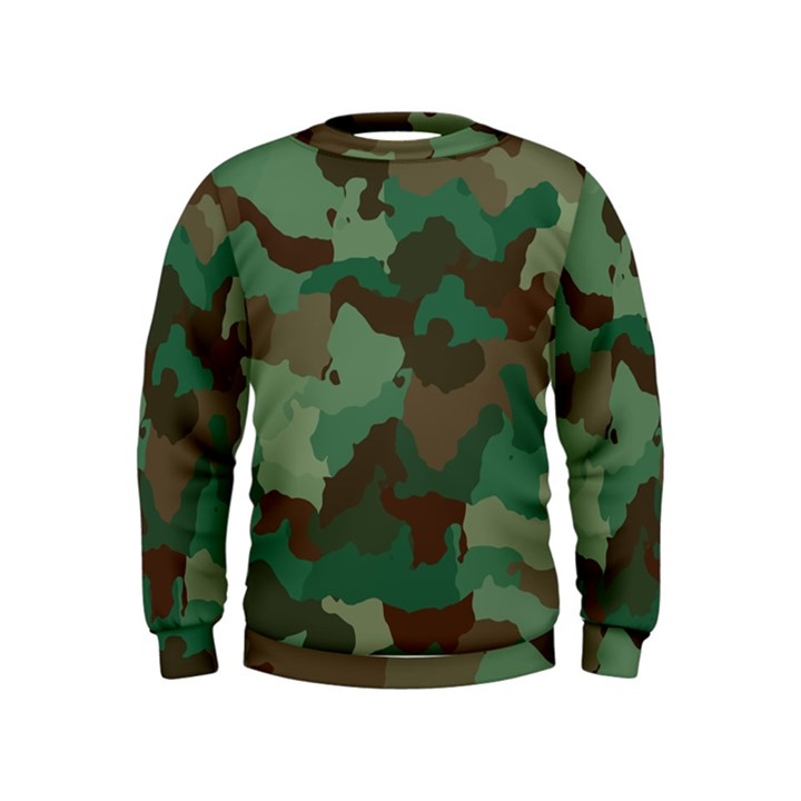 Forest camo pattern Kids  Sweatshirt