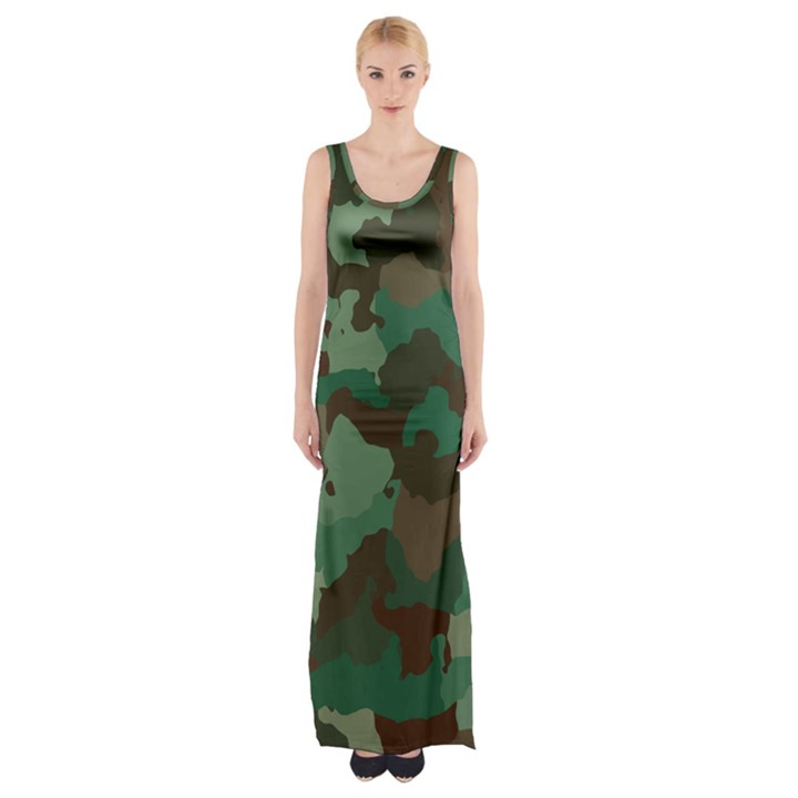 Forest camo pattern Thigh Split Maxi Dress