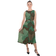 Forest Camo Pattern Midi Tie Back Chiffon Dress
