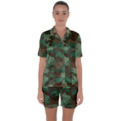 Forest Camo Pattern Satin Short Sleeve Pyjamas Set