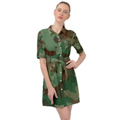 Forest Camo Pattern Belted Shirt Dress