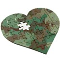 Forest camo pattern Wooden Puzzle Heart View3