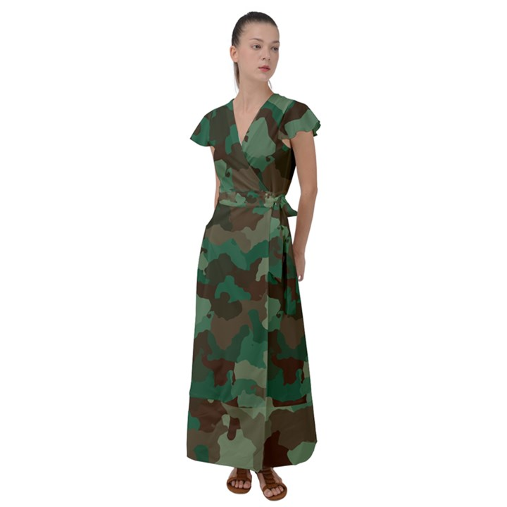 Forest camo pattern Flutter Sleeve Maxi Dress