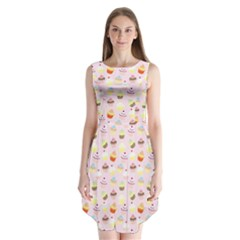 Cakes Pattern Sleeveless Chiffon Dress