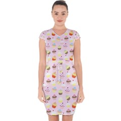 Cakes Pattern Capsleeve Drawstring Dress