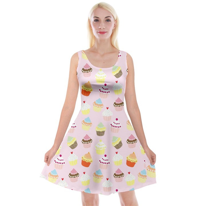 Cakes pattern Reversible Velvet Sleeveless Dress
