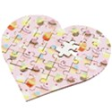 Cakes pattern Wooden Puzzle Heart View2