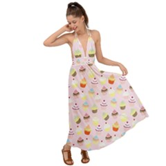 Cakes Pattern Backless Maxi Beach Dress