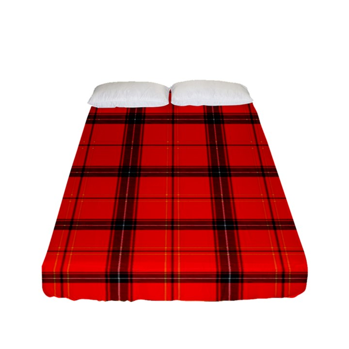 Red buffalo plaid Fitted Sheet (Full/ Double Size)