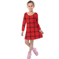 Red Buffalo Plaid Kids  Long Sleeve Velvet Dress by goljakoff