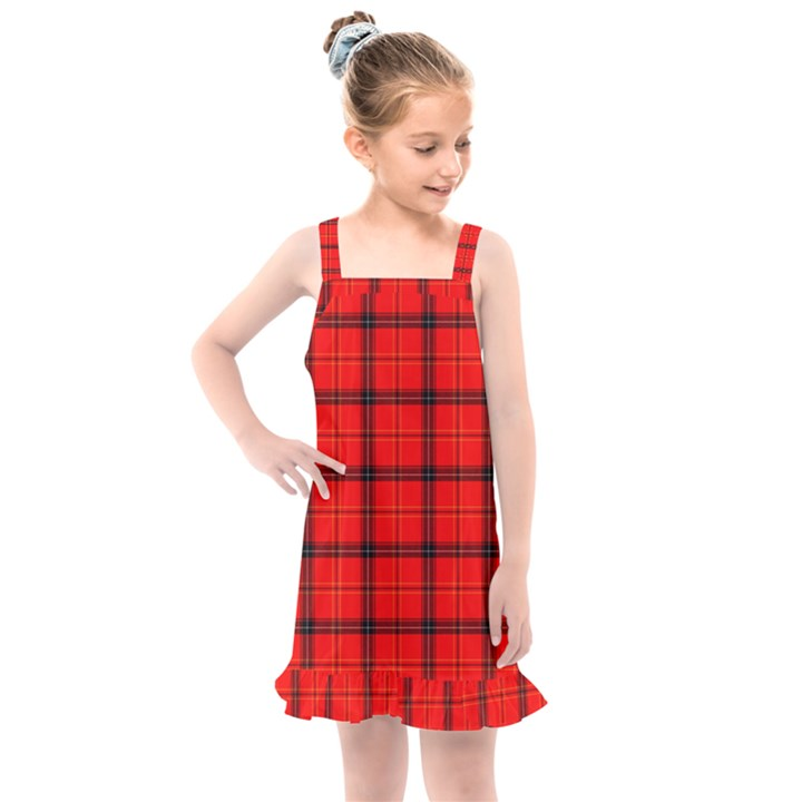 Red buffalo plaid Kids  Overall Dress