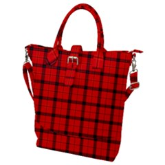 Red Buffalo Plaid Buckle Top Tote Bag
