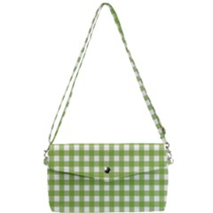 Green Plaid Removable Strap Clutch Bag
