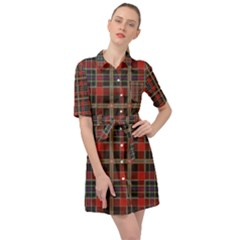 Vintage Buffalo Plaid Belted Shirt Dress