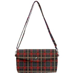Vintage Buffalo Plaid Removable Strap Clutch Bag