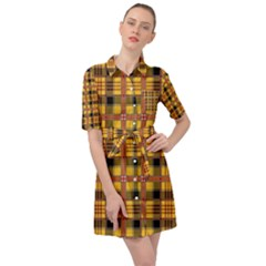Yellow Buffalo Plaid Belted Shirt Dress