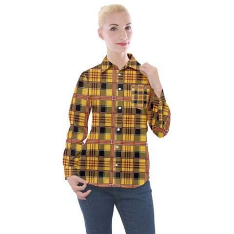 Yellow Buffalo Plaid Women s Long Sleeve Pocket Shirt by goljakoff
