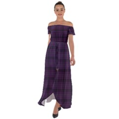 Purple Buffalo Plaid Off Shoulder Open Front Chiffon Dress
