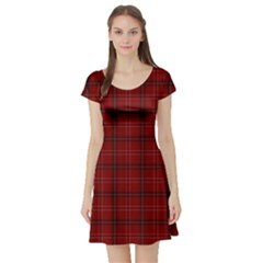 Red Buffalo Plaid Short Sleeve Skater Dress by goljakoff