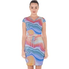 Colorful Agate Capsleeve Drawstring Dress  by goljakoff