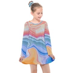 Colorful Agate Kids  Long Sleeve Dress by goljakoff