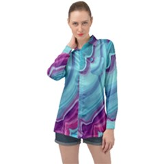 Blue And Puple Agate Long Sleeve Satin Shirt