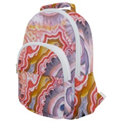 Abstract Agate Slice Rounded Multi Pocket Backpack by goljakoff
