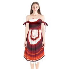 Red Agate Slice Shoulder Tie Bardot Midi Dress