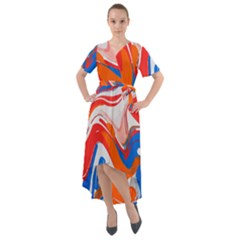 Abstract Red And Blue Paint Front Wrap High Low Dress