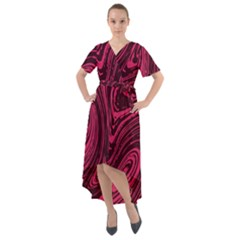 Rose Liquid Marble Front Wrap High Low Dress