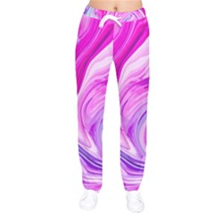 Liquid Purple Marble Women Velvet Drawstring Pants