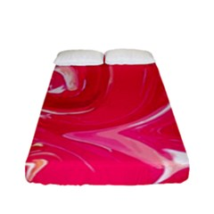 Liquid Red Marble Fitted Sheet (full/ Double Size) by goljakoff
