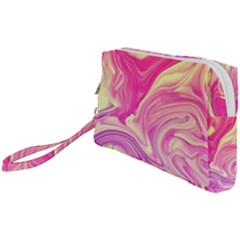 Pink Liquid Marble Wristlet Pouch Bag (small) by goljakoff