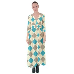 Background Graphic Wallpaper Stylized Colorful Fun Geometric Design Decor Button Up Maxi Dress
