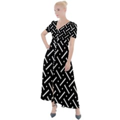 Geometric Pattern Design Repeating Eamless Shapes Button Up Short Sleeve Maxi Dress