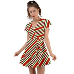 Christmas Color Stripes Flutter Sleeve Wrap Dress