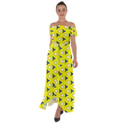 Pattern Yellow Pattern Texture Seamless Modern Colorful Repeat Off Shoulder Open Front Chiffon Dress