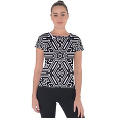 Grid Pattern Backdrop Seamless Design Geometric Patterns Line Short Sleeve Sports Top  by Vaneshart