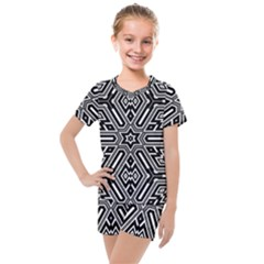 Grid Pattern Backdrop Seamless Design Geometric Patterns Line Kids  Mesh Tee And Shorts Set
