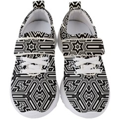 Grid Pattern Backdrop Seamless Design Geometric Patterns Line Kids  Velcro Strap Shoes by Vaneshart