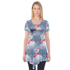 Christmas Snowman Short Sleeve Tunic