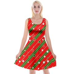 Christmas Paper Star Texture Reversible Velvet Sleeveless Dress