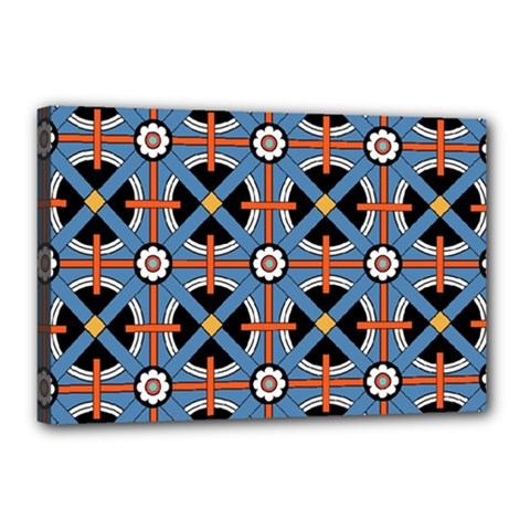 Pattern Weave Background Blue Red Black Canvas 18  X 12  (stretched)