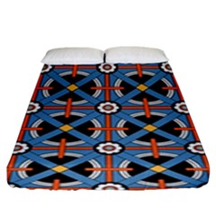 Pattern Weave Background Blue Red Black Fitted Sheet (king Size)