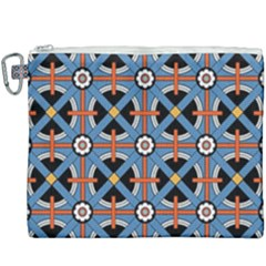 Pattern Weave Background Blue Red Black Canvas Cosmetic Bag (xxxl)
